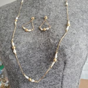 14k solid gold necklace and earrings set
